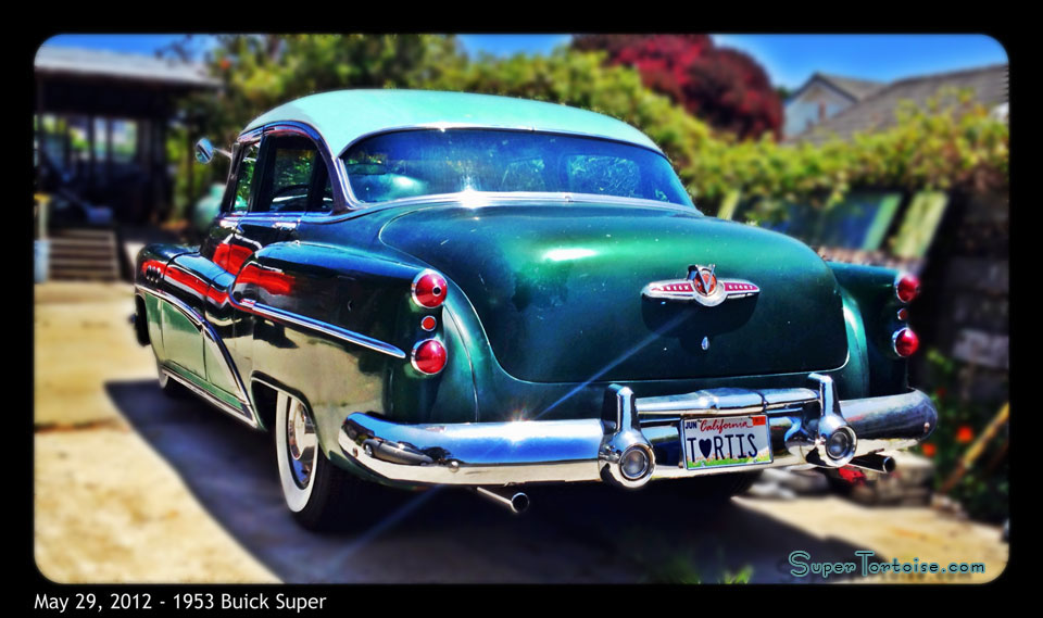 Rear - THE SUPER TORTOISE - 1953 53 Buick Super Series 52 V8 322 Nailhead with Dynaflow Transmission Dark Green with Light Green Trim - La Selva Beach, CA - Mild Custom Restoration Project (For Sale?)
