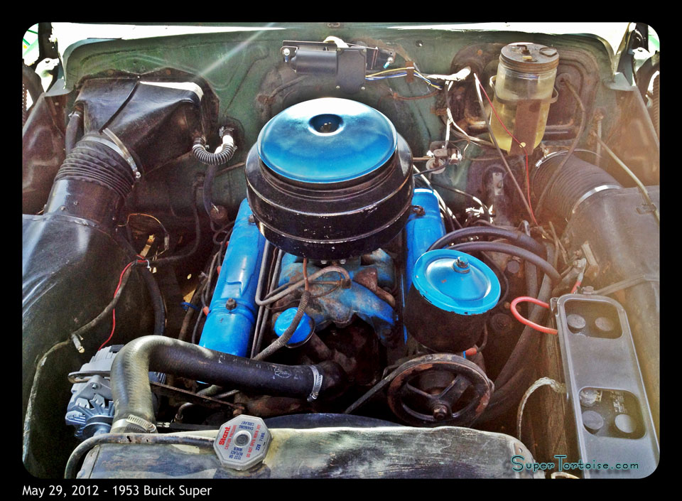 Engine Compartment Under the Hood - THE SUPER TORTOISE - 1953 53 Buick Super Series 52 V8 322 Nailhead with Dynaflow Transmission Dark Green with Light Green Trim - La Selva Beach, CA - Mild Custom Restoration Project (For Sale?)